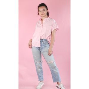 (236) VTG 80s Pink Button Up Blouse